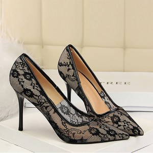Floral Texture Mesh Pattern High Heel Shoes - Black
