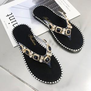 Decorative Rhinestones Flat Party Wear Flip Flops - Black
