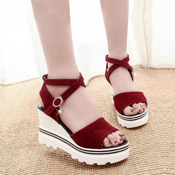 Thick Bottom Simple Strapped Burgundy Sandals