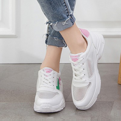 Pink Contrast White Casual Sports Sneakers