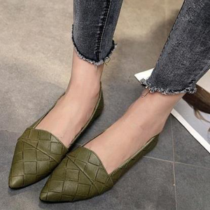 Patchwork Texture Pointed Flat Shoes - Green