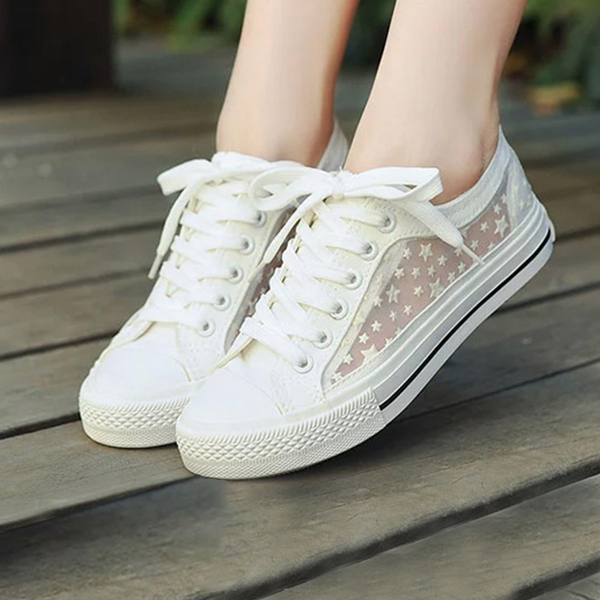 Girls Casual Fashion White Net Sneakers Mesh Pattern