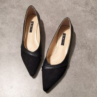 Flat Pointed Shallow Mouth Rubber Shoes - Black