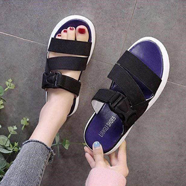 Buckle Casual Sports Summer Wear Slippers - Black