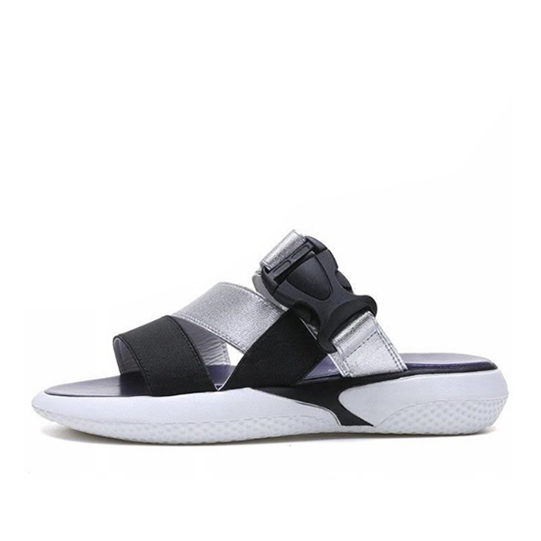 Buckle Casual Sports Summer Wear Slippers - Silver