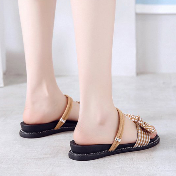 Check Prints Bow Flat Wear Slippers - Brown