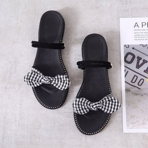 Check Prints Bow Flat Wear Slippers - Black