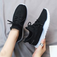 Mesh Pattern Rubber Sole Sports Sneakers - Black