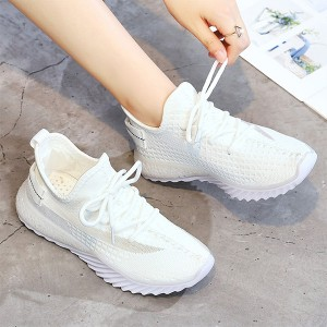 Mesh Pattern Rubber Sole Sports Sneakers - White