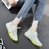 Mesh Pattern Rubber Sole Sports Sneakers - Beige