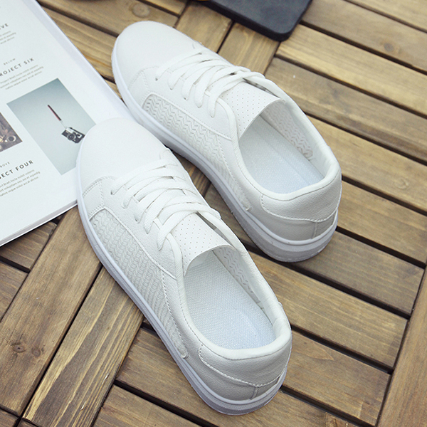 Laced Up Flat Wear Canvas Sneakers - White