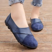 Pu Leather Soft Rubber Sole Women Casual Flat Shoes - Blue