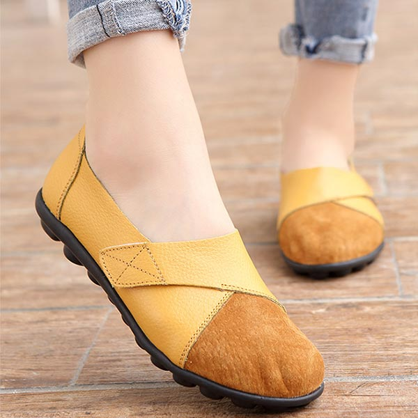 Pu Leather Soft Rubber Sole Women Casual Flat Shoes - Yellow