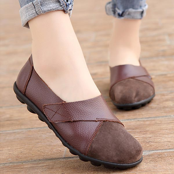 Pu Leather Soft Rubber Sole Women Casual Flat Shoes - Coffee