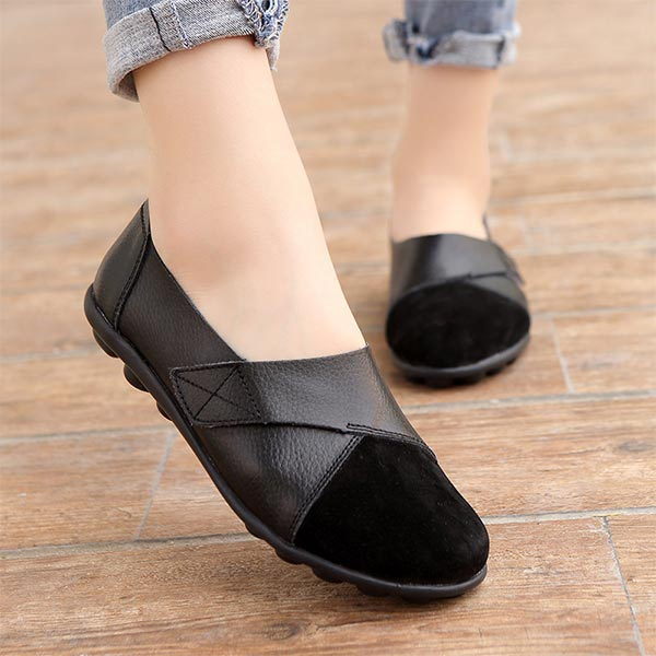 Pu Leather Soft Rubber Sole Women Casual Flat Shoes - Black