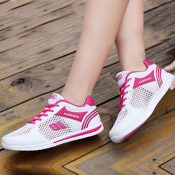 Breathable Net Pink Contrast White Sneakers