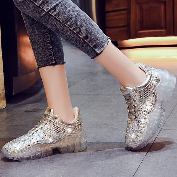 Party Club Wear Shining Crystal Lace Sneakers