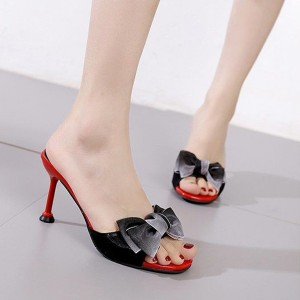 Pencil Heel Bow Patched Party Wear Sandals - Black