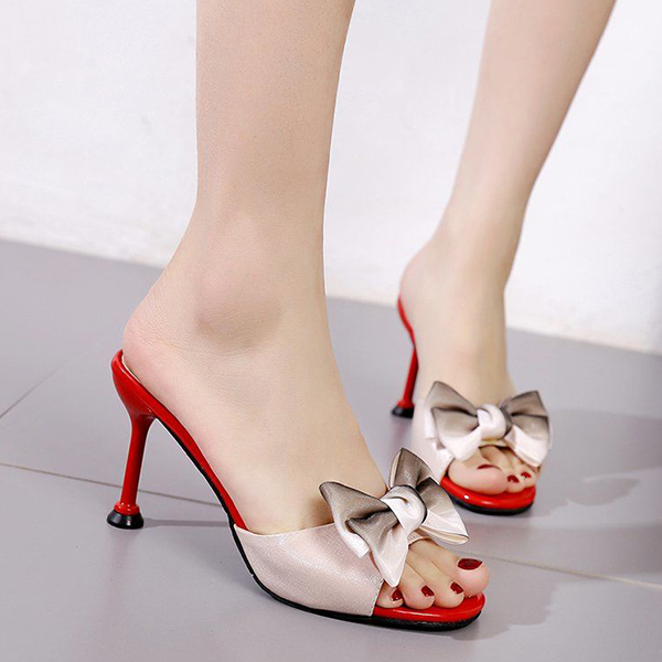 Pencil Heel Bow Patched Party Wear Sandals - White