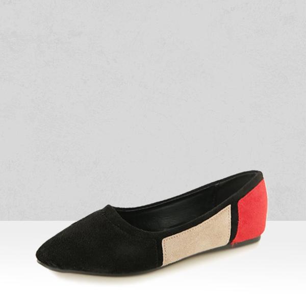 Black Patched Velvet Flat Pointed Sandals