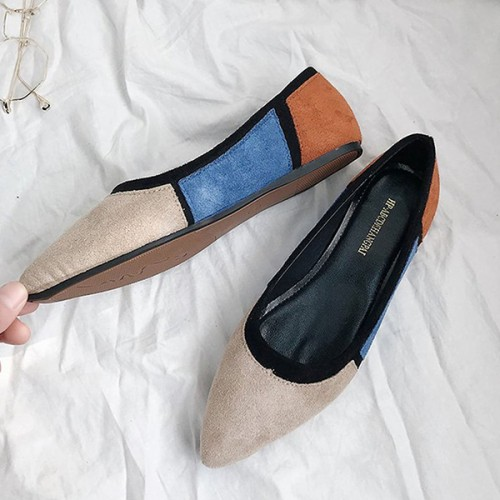 Khaki Patched Velvet Flat Pointed Sandals