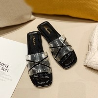 Cross Transparent Strapped Flat Wear Casual Slippers - Black