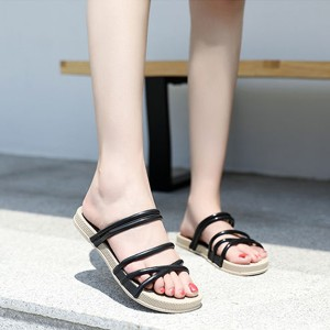 String Strap Flat Summer Wear Sandals - Black