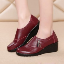 Thick Sole Formal Wear Style Women Office Shoes - Burgundy