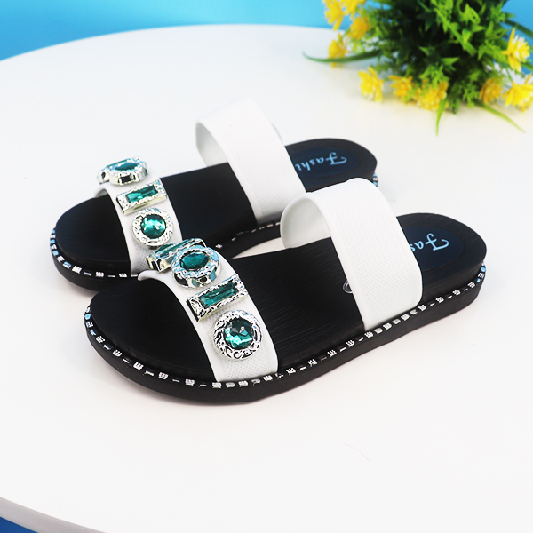 Rhinestones Patched Slip Over Party Wear Sandals - White
