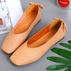 Comfortable Flat Dark Apricot Leather Shallow Mouth Shoes
