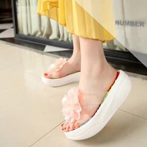 Thick Bottom Flower Patch Casual Sandals - White