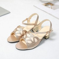 Crystal Decorative Open Toe Party Wear Sandals - Golden