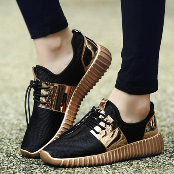 Hot Summer Fashion Unisex Sneakers Shoes Golden Plate