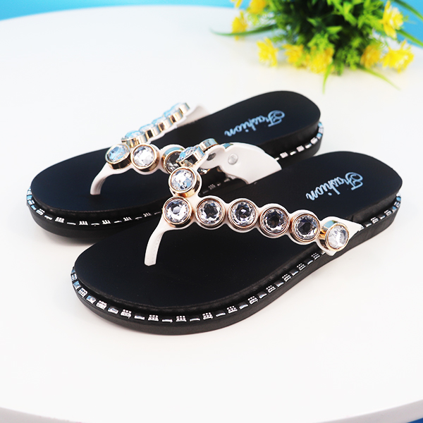 Rhinestones Patched Slip Over Flat Sole Flip Flops - White