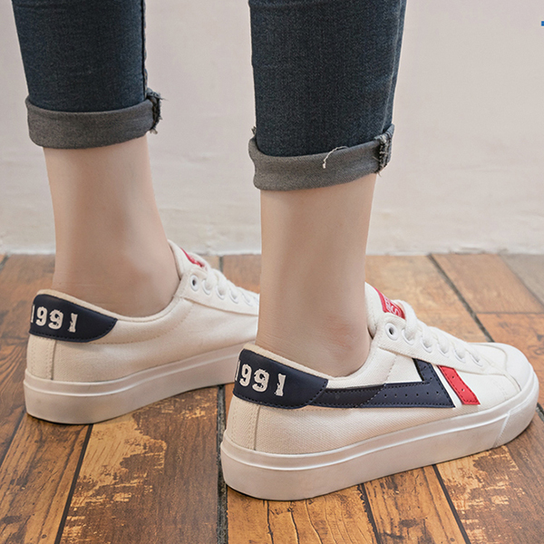 Flat Soft Bottom Laced Sneakers - White