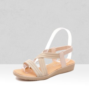 Khaki Canvas Flat Summer Sandals