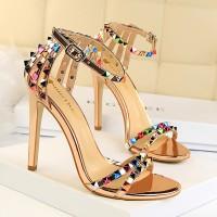 Decorative Party Wear High Heel Luxury Sandals - Golden