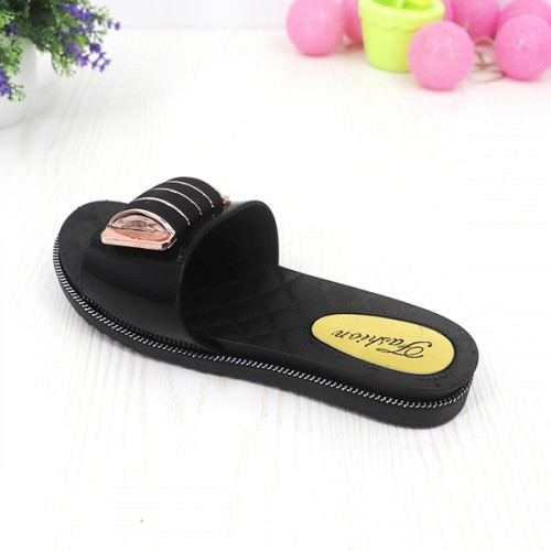 Buckle Casual Flat Rubber Sole Summer Wear Sandals - Black