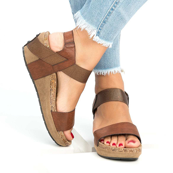 Thick Bottom Strapped Casual Sandals - Brown