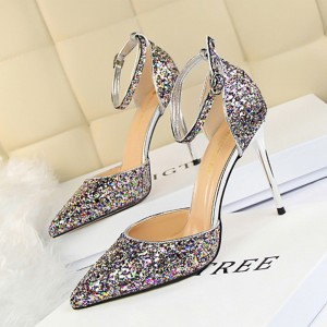 Crystal Sequins Glittered High Heel Sandals - Multi-color