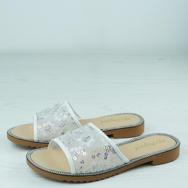Beautiful Summer Flat Sandals For Women - White