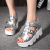 Heavy Bottom Fish Mouth Silver Buckle Sandals