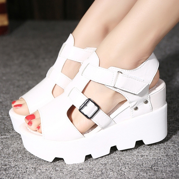 Heavy Bottom Fish Mouth White Buckle Sandals