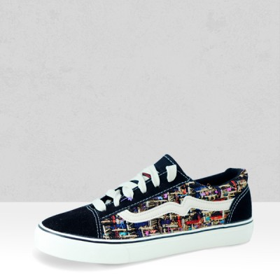 Lace-up Multicolor Black Contrast Flat Sneakers
