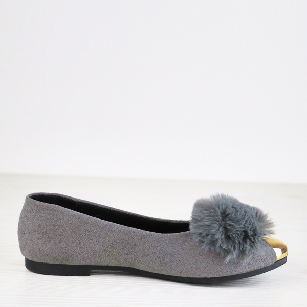 Furry Golden Contrast Flat Wear Party Shoes - Grey