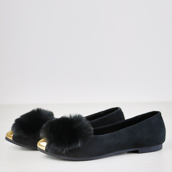 Furry Golden Contrast Flat Wear Party Shoes - Black