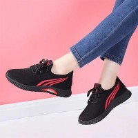 Breathable Non-slip Lace-up Trendy Sneakers - Red Straps