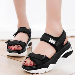 Women Korean Sandals Casual High Heel Flat Bottom Black