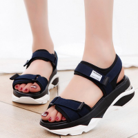 Women Korean Sandals Casual High Heel Flat Bottom Blue