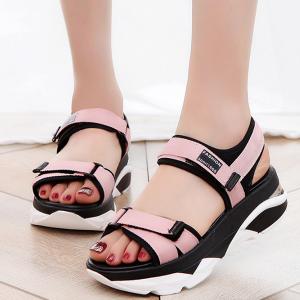 Women Korean Sandals Casual High Heel Flat Bottom Pink